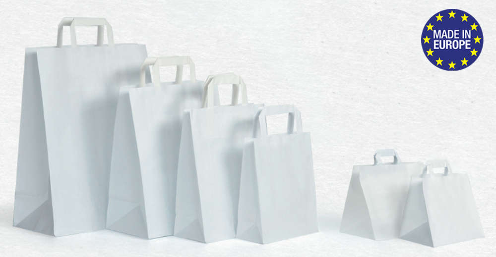 sac papier kraft blanc poign es plates ecobag store. Black Bedroom Furniture Sets. Home Design Ideas