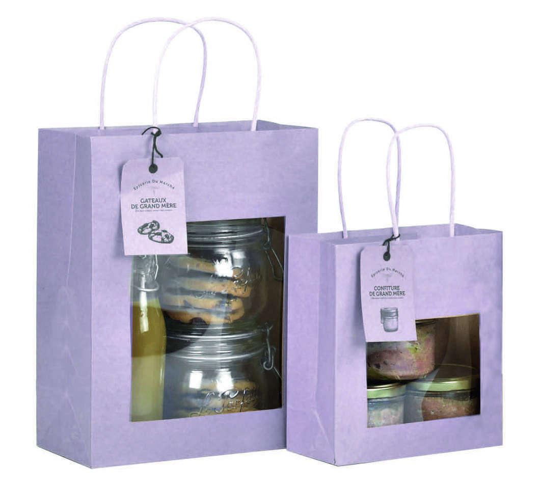 Sac vitrine kraft lavande mat avec fen tre ecobag store for Sac kraft fenetre