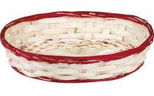 Corbeille bambou ovale - liseré rouge : Nouveautés