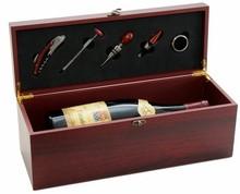 Coffret oenologie bois MAGNUM 5 accessoires : Bouteilles