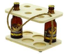 Serviteur 6 bières peuplier et corde  : Bouteilles