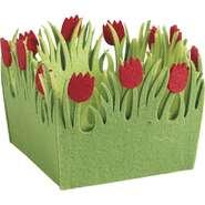 Mini corbeille carrée en feutrine tulipe  : Corbeilles & paniers