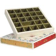 Calendrier de l'Avent carré  effet bois /rouge/vert/or 24 cases : Boites