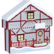 Coffret carton forme chalet rouge/blanc/  décor Bonnes fêtes : Boites