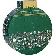 Coffret carton forme boule vert/blanc/rouge/  décor Bonnes fêtes : Boites