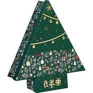 Coffret carton forme sapin décor Bonnes fêtes : Boites