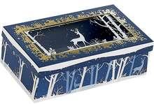 Coffret carton rectangle fenêtre couvercle  PET décor Forêt/Renne : Boites