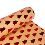 Papier cadeaux  kraft brun sapin rouge  : Accessoires emballages