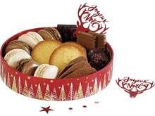 Corbeille carton ronde Bonnes fêtes rouge :