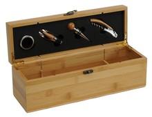 Coffret oenologie bois naturel 1 bouteille + 4 accessoires luxe : Bouteilles
