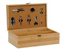Coffret oenologie bois naturel 2 bouteilles + 7 accessoires luxe : Bouteilles