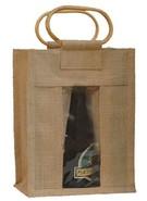 Sac toile de jute 6 bouteilles 37.5cl avec fenêtre : Bouteilles