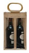 Sac jute 2 bouteilles 75 cl avec fenêtre  : Bouteilles