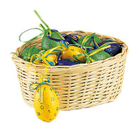 Corbeille osier garnis de 18 œufs :