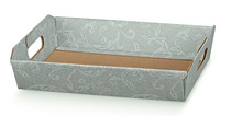 Corbeille carton gris damassé 310x220x90mm : Corbeilles & paniers