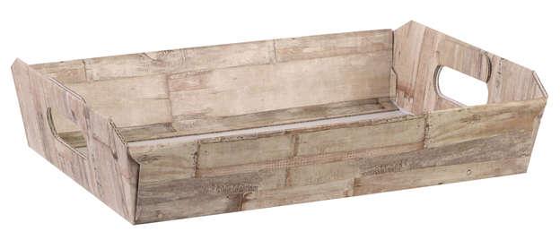 Corbeille carton motif BOIS : Corbeilles & paniers