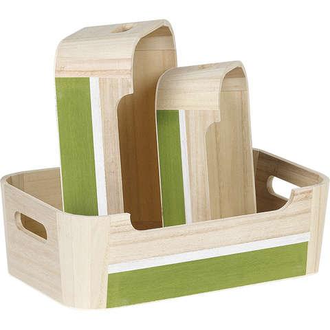 Corbeille bois rectangle blanc / vert : Corbeilles & paniers