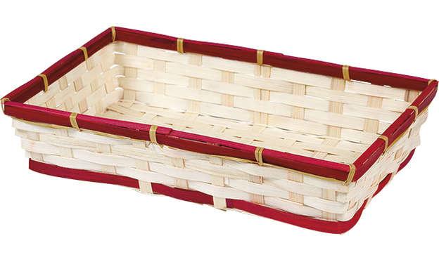 Corbeille bambou rectangle - liseré rouge : Corbeilles & paniers