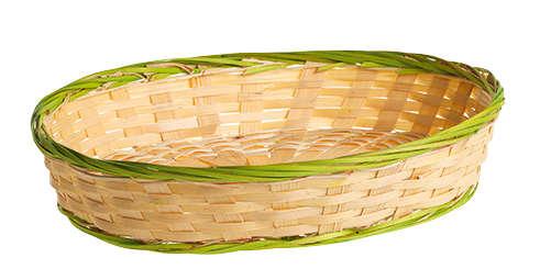 Corbeille bambou ovale - liseré vert  : Corbeilles & paniers