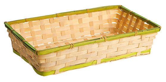 Corbeille bambou rectangle - liseré vert : Corbeilles & paniers