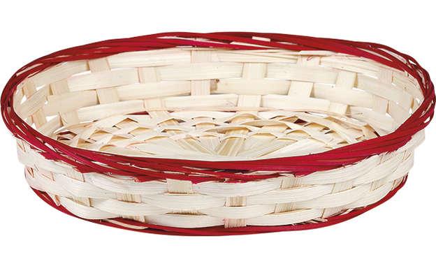 Corbeille bambou ovale - liseré rouge : Corbeilles & paniers