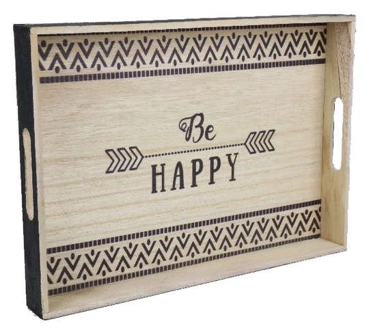 """Plateau bois """"Be Happy"""" : Plateaux & planches"""