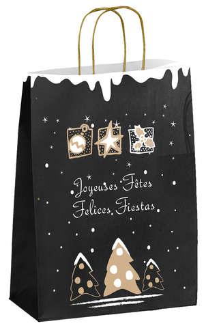 Sacs kraft Noël - Noir chic : Sacs