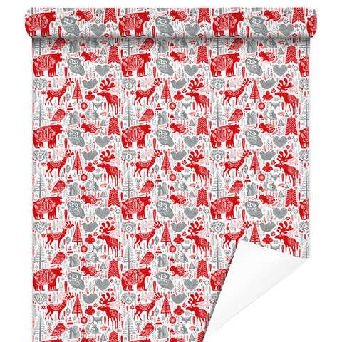 """Rouleau papier cadeau """"Laponie Rouge"""" : Accessoires emballages"""