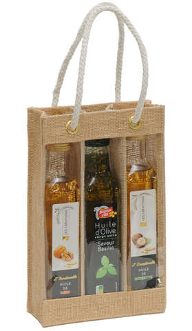 Sac toile de jute 3 bouteilles d'huile d'olives : Bouteilles