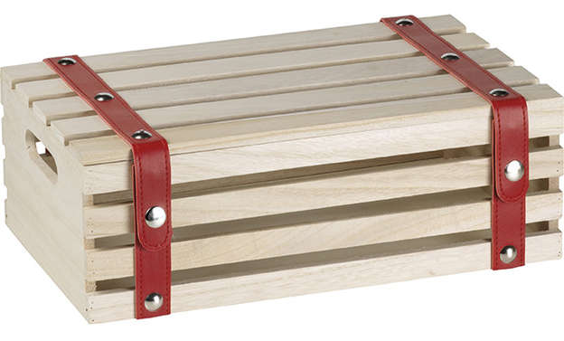 Coffret bois rectangle et lanières rouge  : Boites