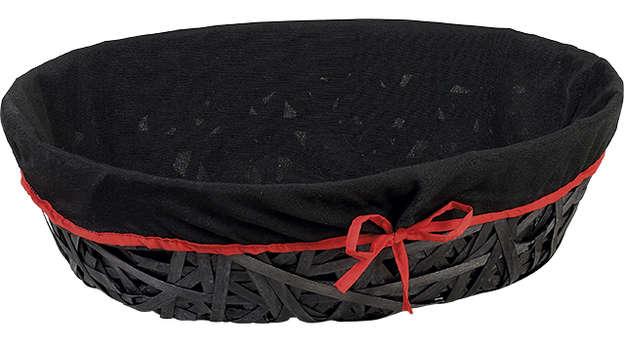 Corbeille bois ovale noire + liseré rouge : Corbeilles & paniers