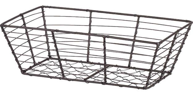 Corbeille métal rectangle effet vieilli : Corbeilles & paniers