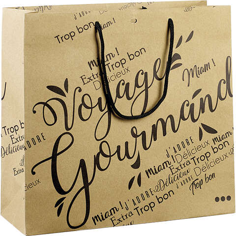 Sac papier kraft décor Voyage Gourmand noir : Sacs