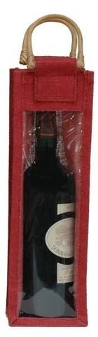 Sac jute bordeaux 1 bouteille 75 cl avec fenêtre : Bouteilles