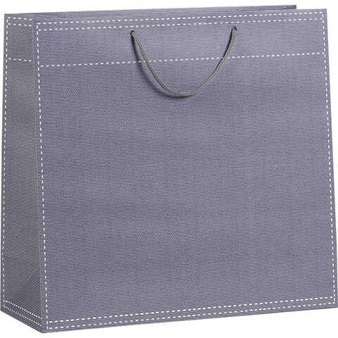 Sac papier gris poignées corde 120g / Oeillet de fermeture  : Sacs