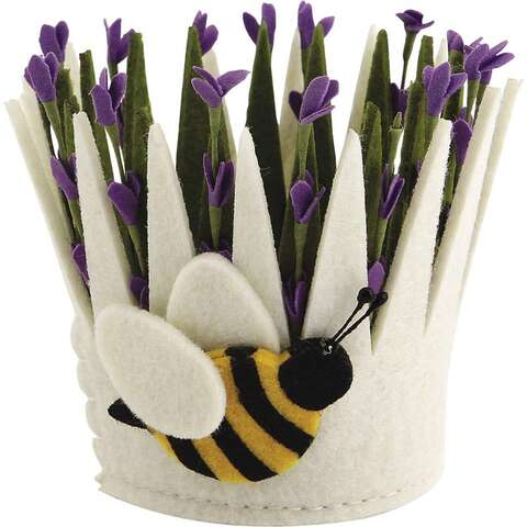Corbeille en feutrine motif fleur  : Corbeilles & paniers