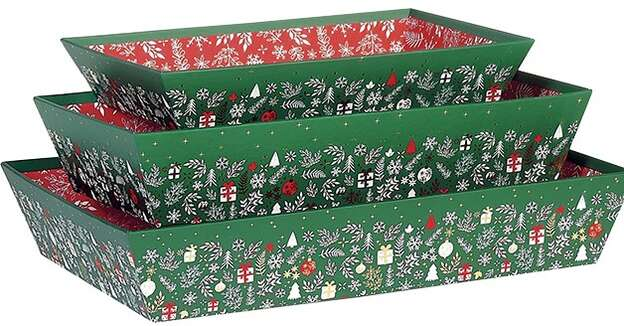 Corbeille carton rectangle  décor Bonnes fêtes : Corbeilles & paniers
