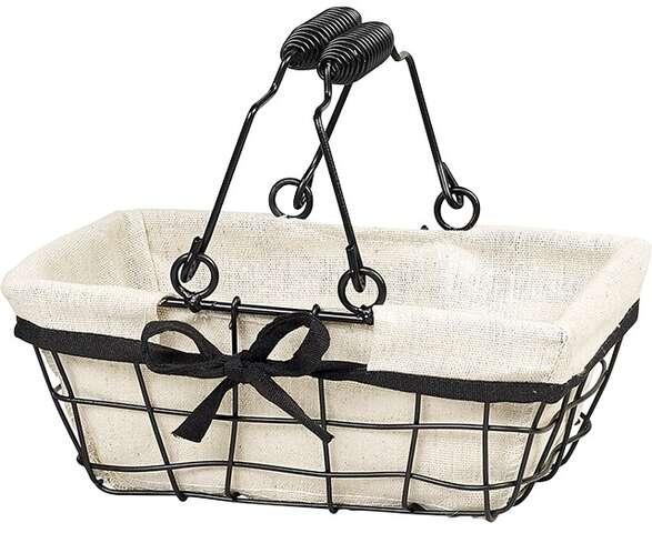 Panier métal rectangle noir/tissu : Corbeilles & paniers