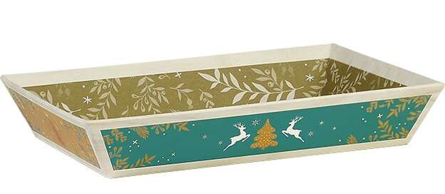 Corbeille carton rectangle effet bois/rouge/vert/or : Corbeilles & paniers
