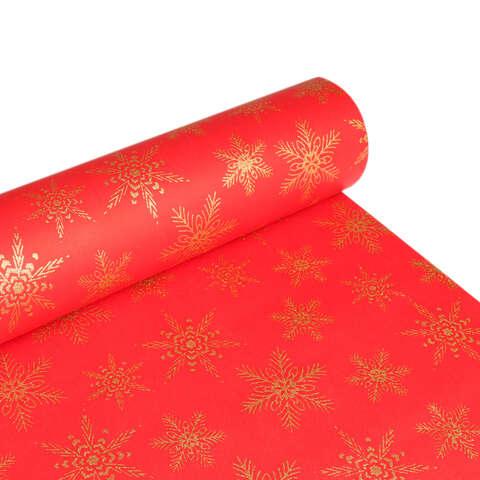 Papier cadeaux Aplat rouge / Flocons paillettes or  : Accessoires emballages