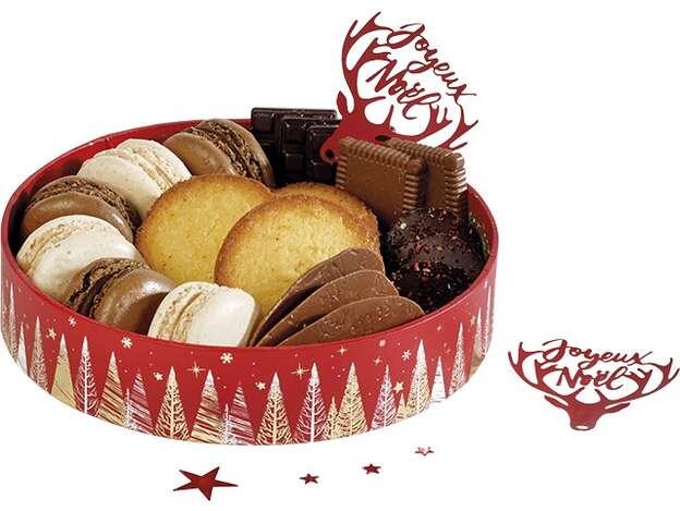 Corbeille carton ronde Bonnes fêtes rouge : Boites