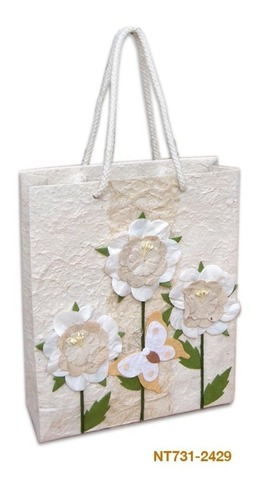 "Sac papier ""Fleurs blanches"" : Sacs"
