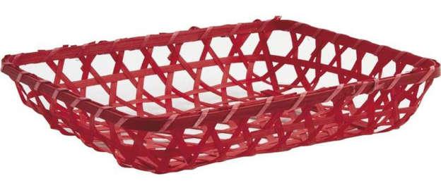 Corbeille en bambou teinté rouge 26 x 20 x 5 cm : Corbeilles & paniers