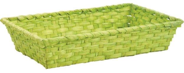Manne en bambou teinté vert anis 33 x 20 x 7 cm : Corbeilles & paniers