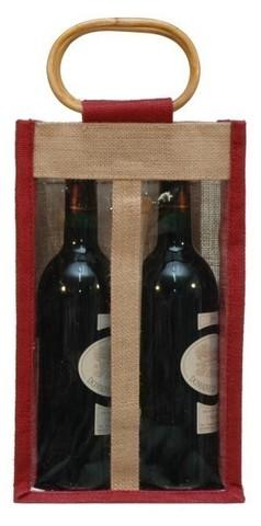Sac jute 2 bouteilles 75 cl + fenêtre : Bouteilles