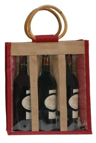 Sac jute 3 bouteilles 75cl + fenêtre : Bouteilles