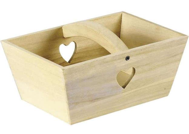 Panier en bois avec découpe coeur 24 x 16 x 10 cm : Corbeilles & paniers