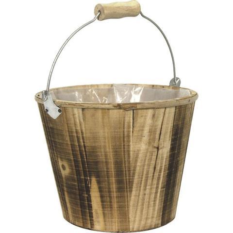 Seau en bois et anse métal : Corbeilles & paniers