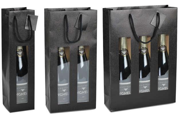 Sac fenêtre NOIR MAT pour 1, 2 et 3 bouteilles : Bouteilles