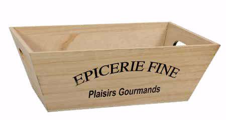 """Corbeille bois rectangulaire """"Epicerie Fine"""" : Corbeilles & paniers"""